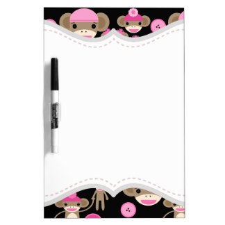 Cute Girly Pink Sock Monkeys Girls on Black Dry-Erase Board
