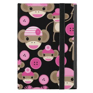 Cute Girly Pink Sock Monkeys Girls on Black Cover For iPad Mini