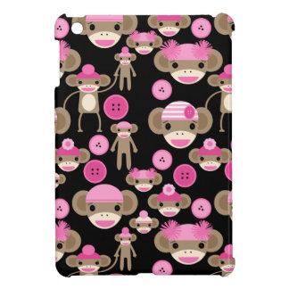 Cute Girly Pink Sock Monkeys Girls on Black iPad Mini Cases