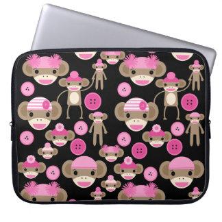 Cute Girly Pink Sock Monkeys Girls on Black Laptop Sleeve