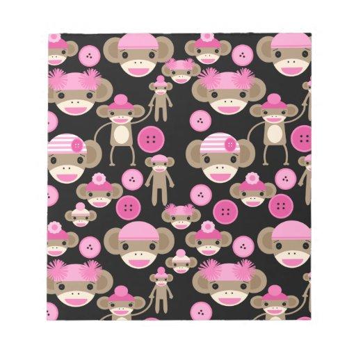 Cute Girly Pink Sock Monkeys Girls on Black Memo Note Pads
