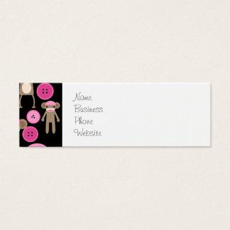 Cute Girly Pink Sock Monkeys Girls on Black Mini Business Card