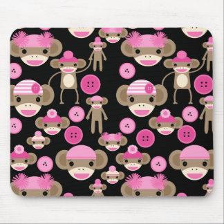 Cute Girly Pink Sock Monkeys Girls on Black Mouse Pad