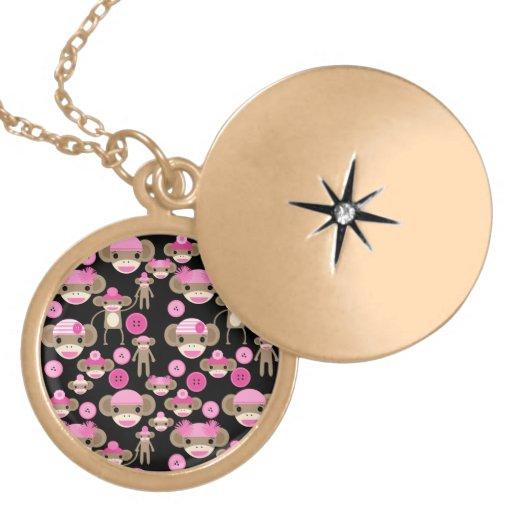 Cute Girly Pink Sock Monkeys Girls on Black Round Locket Necklace