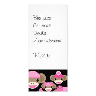 Cute Girly Pink Sock Monkeys Girls on Black Rack Card