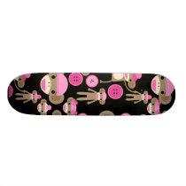 Cute Girly Pink Sock Monkeys Girls on Black Skateboard Deck