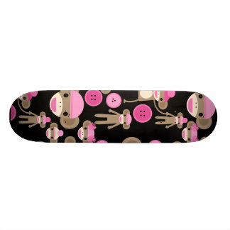 Cute Girly Pink Sock Monkeys Girls on Black Skateboards