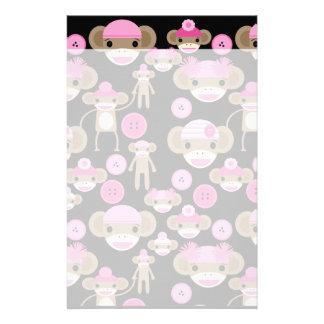Cute Girly Pink Sock Monkeys Girls on Black Stationery