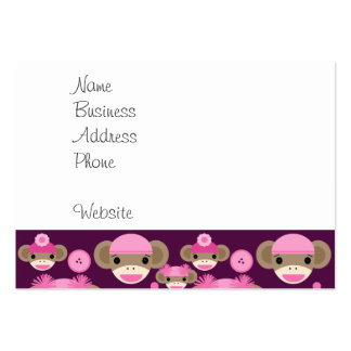 Cute Girly Pink Sock Monkeys Girls on Purple Large Business Cards (Pack Of 100)