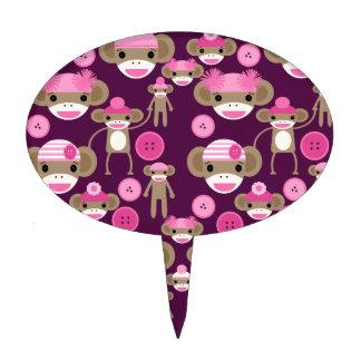Cute Girly Pink Sock Monkeys Girls on Purple Cake Picks