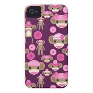 Cute Girly Pink Sock Monkeys Girls on Purple iPhone 4 Case-Mate Case