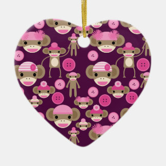 Cute Girly Pink Sock Monkeys Girls on Purple Ceramic Ornament