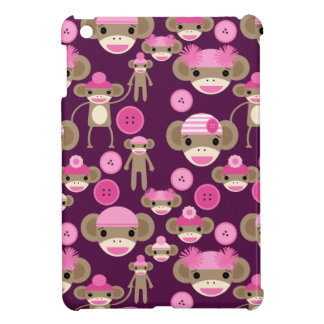 Cute Girly Pink Sock Monkeys Girls on Purple iPad Mini Cases