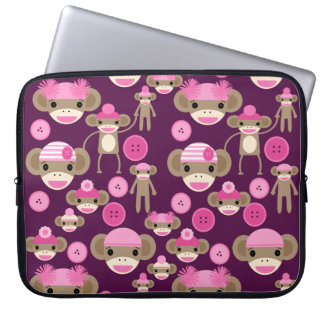 Cute Girly Pink Sock Monkeys Girls on Purple Computer Sleeves