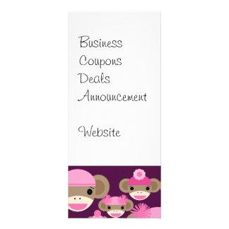 Cute Girly Pink Sock Monkeys Girls on Purple Rack Cards