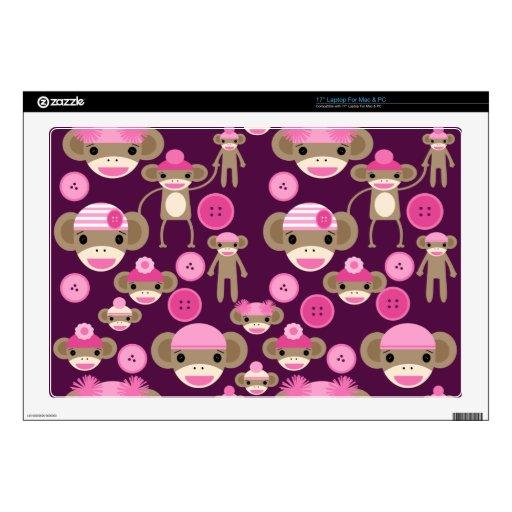 Cute Girly Pink Sock Monkeys Girls on Purple Decals For Laptops