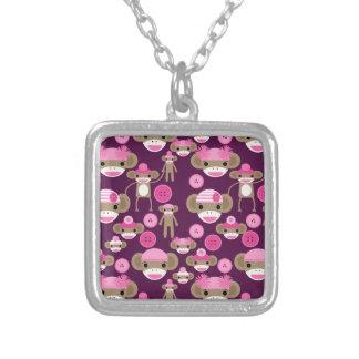 Cute Girly Pink Sock Monkeys Girls on Purple Square Pendant Necklace