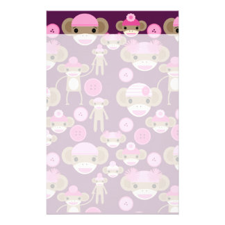 Cute Girly Pink Sock Monkeys Girls on Purple Stationery