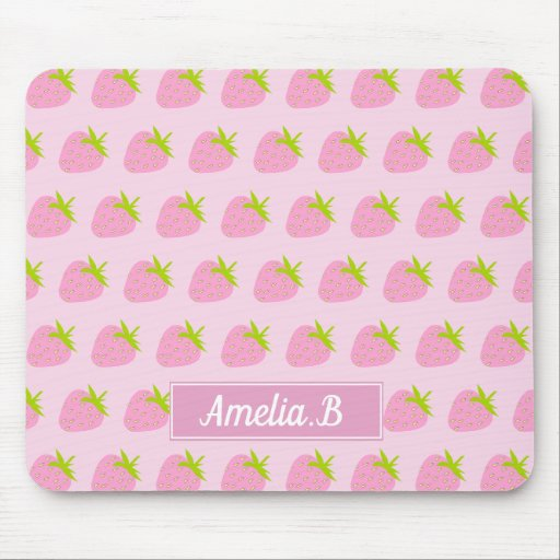 Cute Girly Pink Strawberry Pattern Personalised Mouse Pad