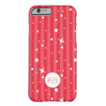 Cute Girly Pink Stripes with Initials iPhone 6 Case