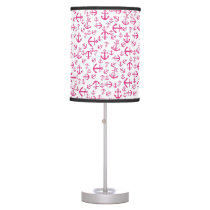 Cute Girly Pink Trendy Nautical Anchor Pattern Desk Lamp