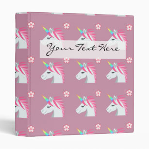 Flower emoji gifts on zazzle cute girly pink unicorn flower emoji pattern 3 ring binder mightylinksfo
