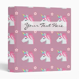 Cute Girly Pink Unicorn Flower Emoji Pattern 3 Ring Binder