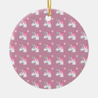 Cute Girly Pink Unicorn Flower Emoji Pattern Ceramic Ornament