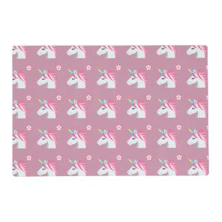 Cute Girly Pink Unicorn Flower Emoji Pattern Placemat