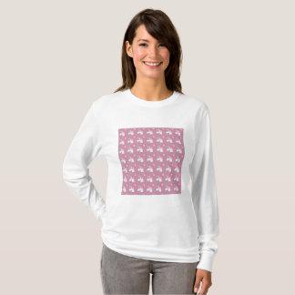 Cute Girly Pink Unicorn Flower Emoji Pattern T-Shirt