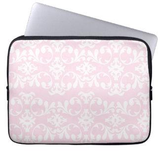 Cute Girly Pink White Damask Pattern Laptop Sleeve