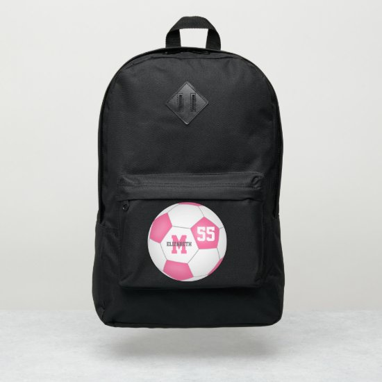 cute girly pink white soccer ball personalized port authority® backpack