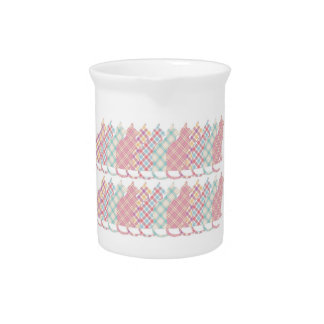 Cute Girly Plaid Cats Beverage Pitcher