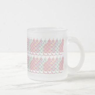 Cute Girly Plaid Cats Frosted Glass Coffee Mug