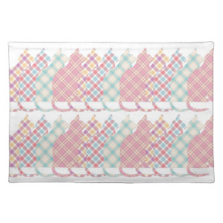 Cute Girly Plaid Cats Cloth Placemat