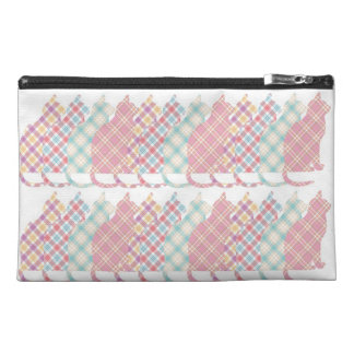 Cute Girly Plaid Cats Travel Accessory Bag