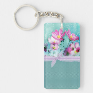 Cute Girly Polka Dots, Blooming Flowers Keychain