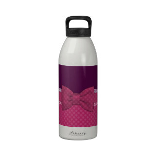 Cute girly Polka dots pink bow ribbon background Reusable Water Bottle