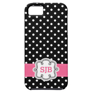 Cute Girly Polkadots with Pink Initials iPhone 5 Cases
