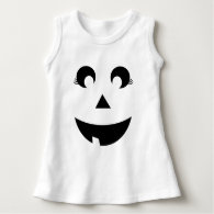 Cute Girly Pumpkin Face Baby Costume Dress