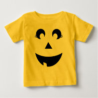 Cute Girly Pumpkin Face Baby Costume T Shirts