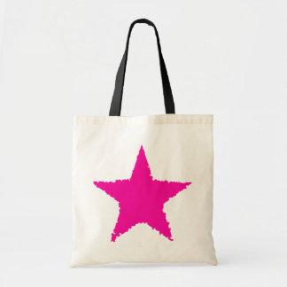 Cute girly punk hot pink ragged star tote bags
