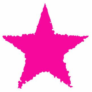 Cute girly punk hot pink ragged star cutout