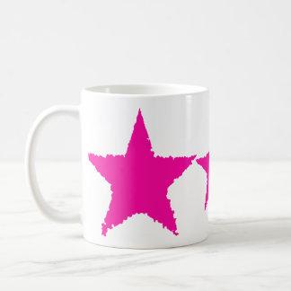 Cute girly punk hot pink ragged star classic white coffee mug