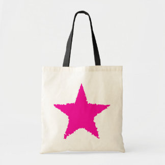 Cute girly punk hot pink ragged star tote bag