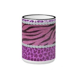 Cute Girly Purple Animal Print Diamond Coffee Mugs