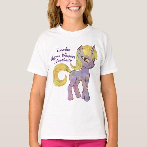 Cute Girly Purple Blonde Unicorn Whisperer Stars T_Shirt