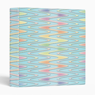 Cute Girly Rainbow over Teal Blue Zigzag Binder