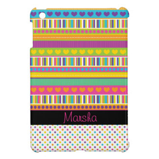 cute girly rainbow patterns dots stripes hearts iPad mini case