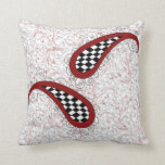 cute girly red checkered paisley throw pillow
